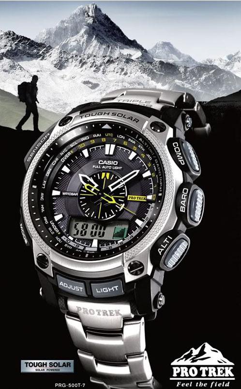 9f07c74ecc6 Relógio Casio Pro Trek - PRG-500-1DR Características  Resistência a água de até  100 metros. Resistência a baixas temperaturas. Iluminação noturna. Barômetro