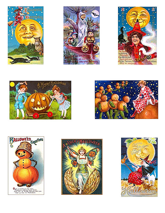 another fabulous collection of vintage halloween postcards reproduced on cotton fabric this collection of reproduction appliques features a nice assortment