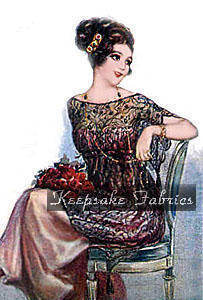 Lady in Lace ~ Red Roses Fabric Quilt Block Multi Sizes
