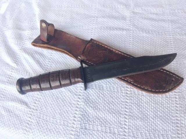 USMC KA-BAR FIGHTING KNIFE W/ SCABBARD-img-0