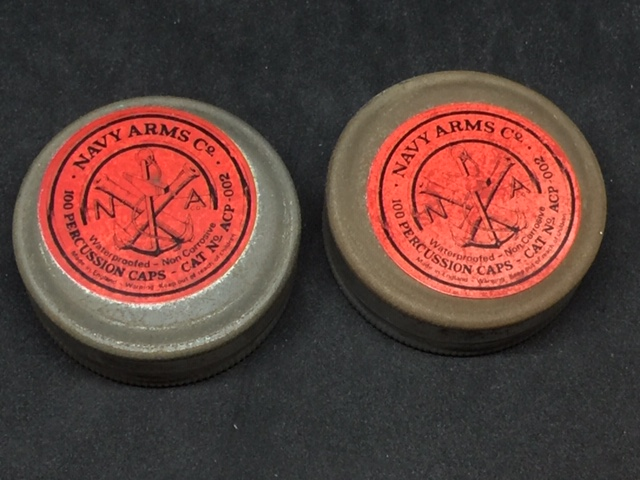 2 VINTAGE TIN'S OF PERCUSSION CAPS NAVY ARMS-img-0