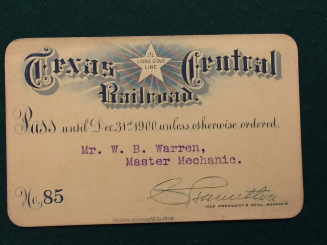 1900 TEXAS CENTRAL LONE STAR LINE RAILROAD PASS-img-0