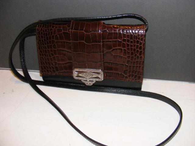 1e27950f7ed Details about BRIGHTON CROSSBODY PURSE Bag CLUTCH Black Leather Brown Croc  Organizer Wallet