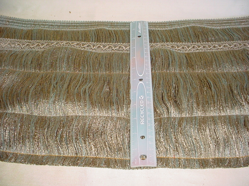 10 Yards Tan Green Blue Brush Fringe Trim