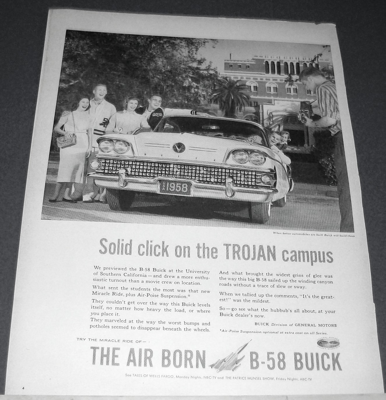 1958 Buick B-58 Trojan Campus Univ So California Ad. Perfect for framing!