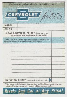 1957 Window Sticker Chevy Message Forum Restoration And