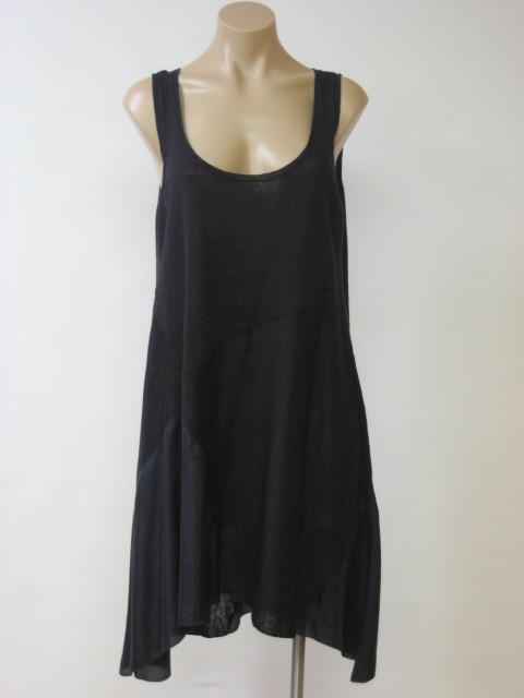 EILEEN FISHER Black Linen Silk Jersey Habutai Long Tunic Dress S Small NWT $238