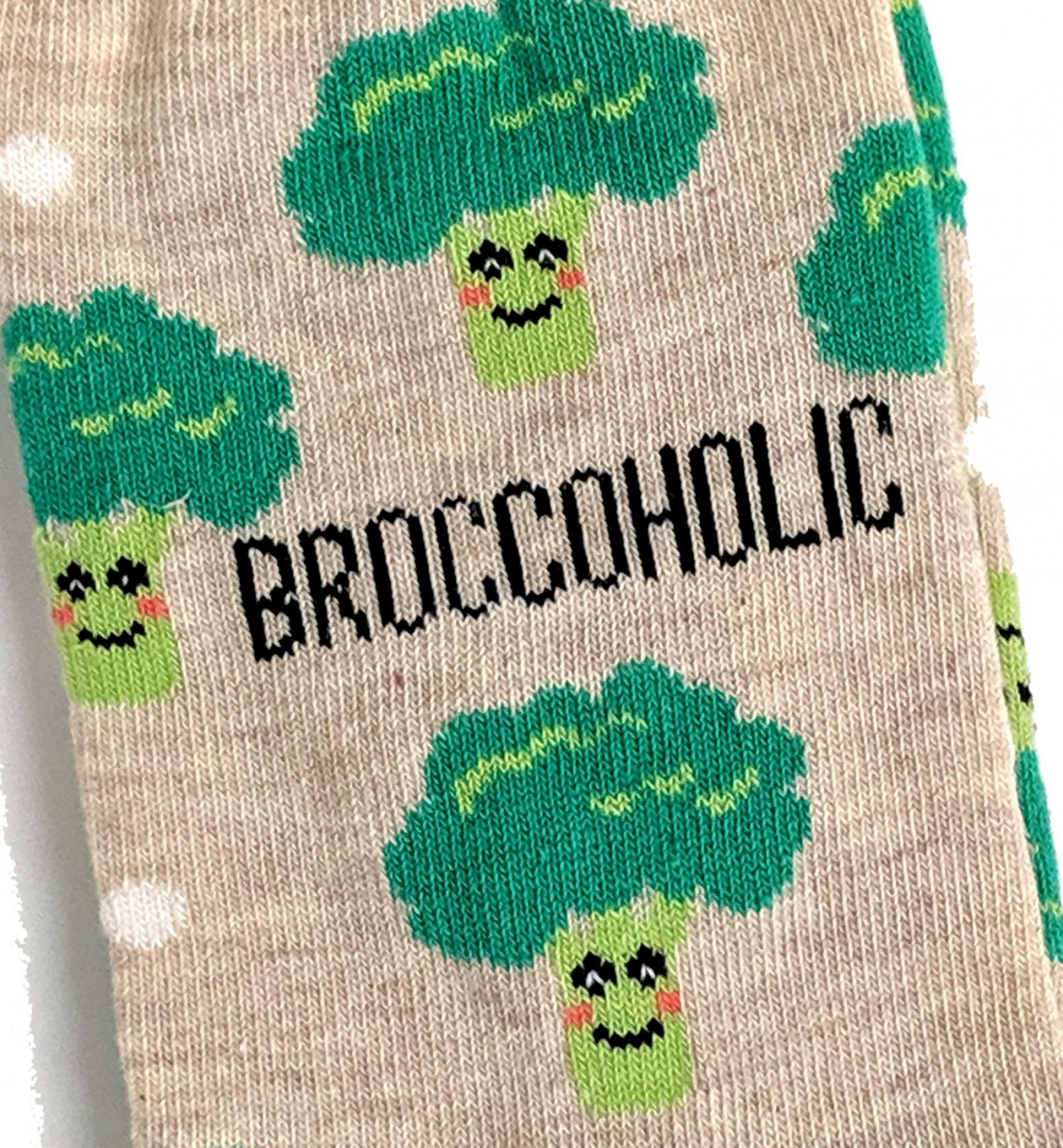 LADIES BROCCOHOLIC VEGETARIAN HEALTHY VEGETABLES SOCKS UK 4-8 EUR 37-42 US 6-10