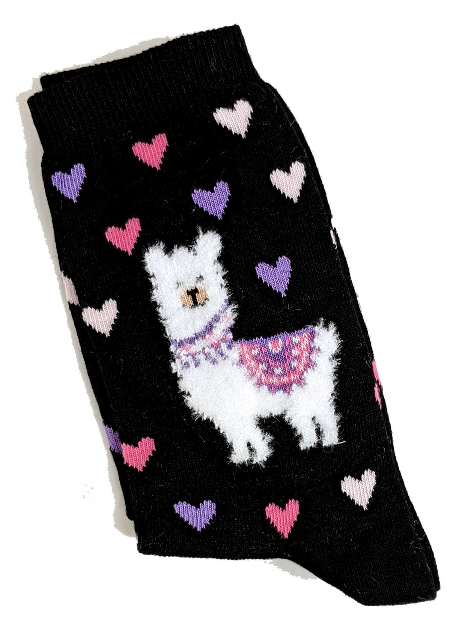 Damen Weiche Flaumige Weiße Lama Schwarze Socken 37-42