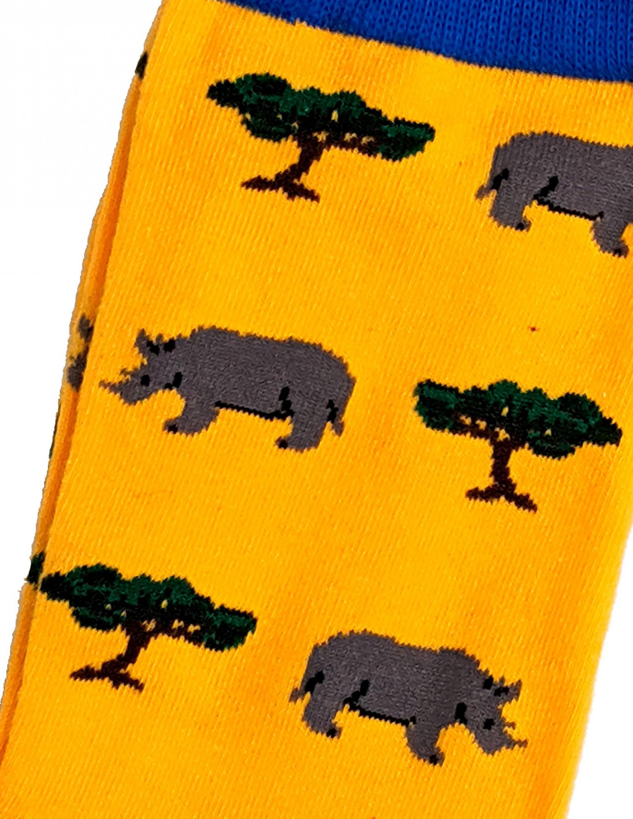 Homme Crash of Rhinos Rhinocéros Jaune Bleu Chaussettes 6-8.5 UK//39-42 EUR//7-10 US